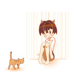 Shy cat girl with brave cat in kawaii anime style poster