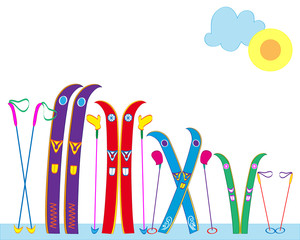 Skis, ski sticks, mittens of an amicable family