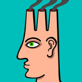 Human head with chimneys emitting smoke