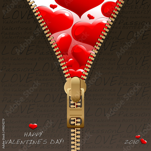 Valentines zipper style design template