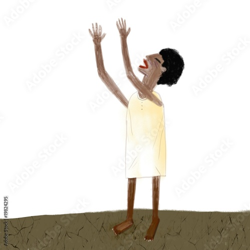Poor haitian woman cries out with the arms to the sky