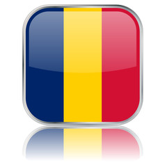 Chad Flag Square Web Button (Chadian Africa Vector Reflection)