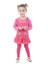 Little Girl In Pink. Studio Shoot Over White Background.