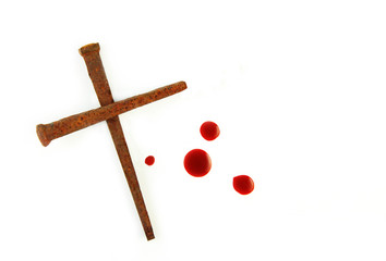 Cross of Rusty Nails and Blood Drops