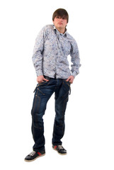 Modern Jeans Young Adult Man. Studio Shoot Over White Background