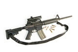M16 Style Assault Rifle with Scope & Bullets on White poster