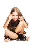 little girl dressed as prehistoric man poster