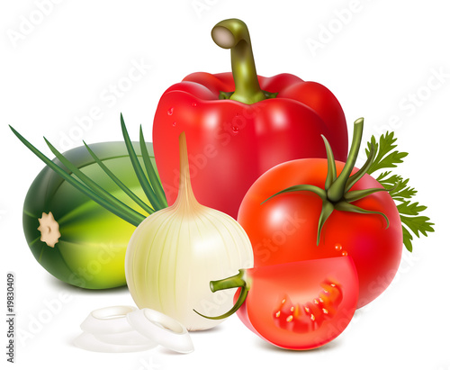 Photorealistic vector. Colorful fresh group of vegetables.