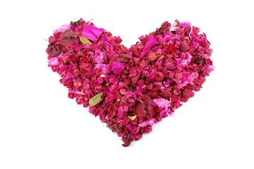 Pink heart made of dried petals, leaves, flowers Valentine's Day