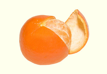 tangerine with a peeled quarter