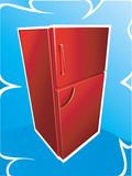Red refrigerator on a blue background
