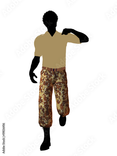 African American Soldier Illustration Silhouette