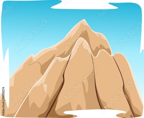 Illustration of mountain with sky background