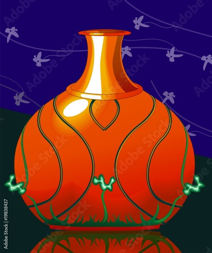 Illustration of design pot with work background