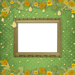 Wooden frame on the abstract background with bunch of flowers a