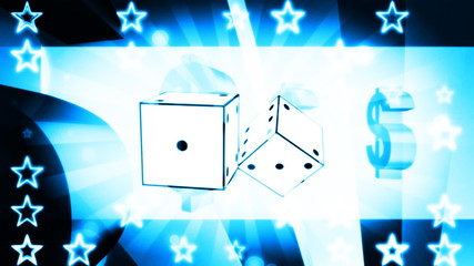Retro Gambling Animated Loop in Blue