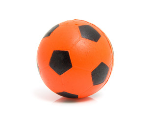 Orange soccer ball over white background