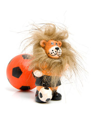 Orange soccer ball and lion over white background