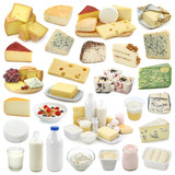 Dairy products collection isolated on white background