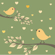Birds couple. Valentine`s card.