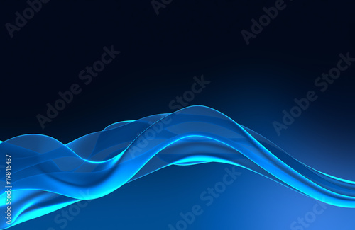 Background with Blue 3D lines in waves