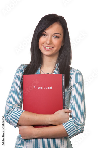 Woman with Application folder for the interview