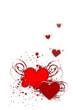 coeurs rouges ailés sur fond vertical blanc