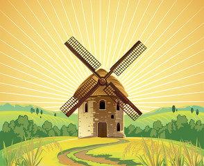 Solar summer landscape with a windmill