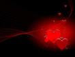Coeurs rouges et lignes rouges sur fond noir