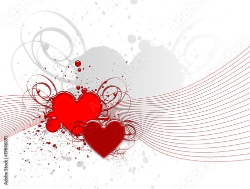 Coeurs rouges et lignes rouges sur fond blanc