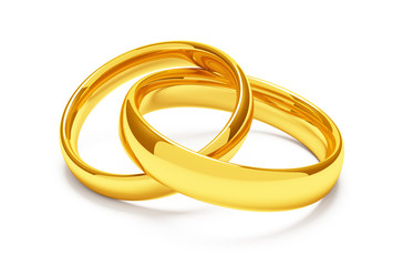 Two gold wedding rings lie together