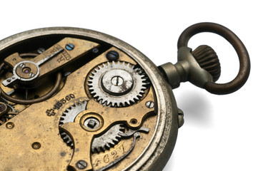 internal gear mechanism with an old pocket watch