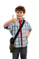 Boy showing OK sign isolated on white background