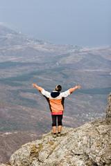 Hiker in Crimea mountains