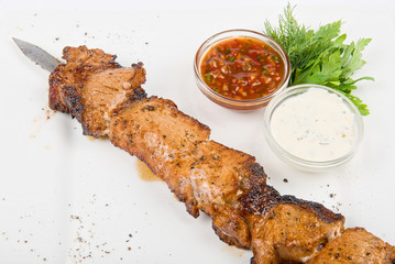 Grilled pork kebab