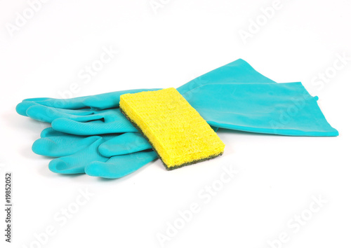 Rubber gloves and sponge