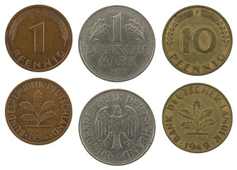 german pfennig and mark close up