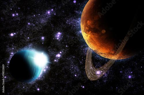 abstrakcjonistyczna-planeta-z-slonce-raca-w-glebokiej-przestrzeni-gwiazda