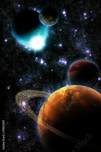 Abstract planet with sun flare in deep space - star nebula again