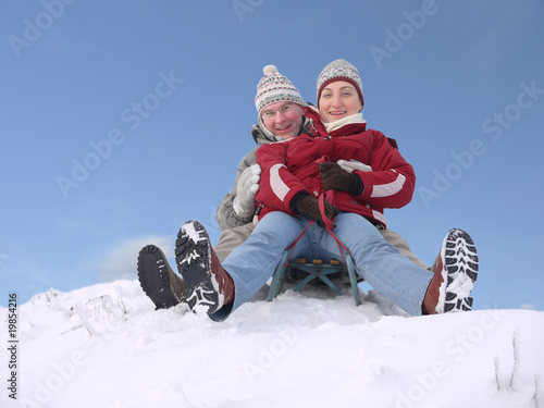 Couple on sled