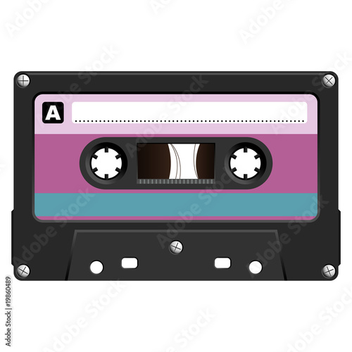 Audio cassette with colorful tag over white