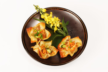 Chinese Wontons in shape of a flower.