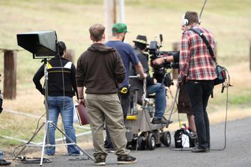 Movie crew shooting a scene