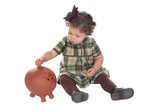 Baby girl inserting a coin into a piggybank poster