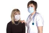 patiente et médecin avec un masque de protection poster