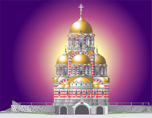 orthodox castle in mystical illumination