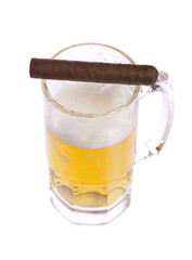 Glass of beer and cigar