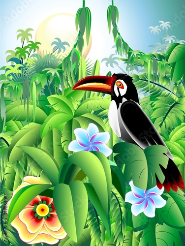 Sfondo Tropico-Exotic Background-Toucan Tropiques