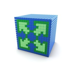 Green Arrows Blue Cube