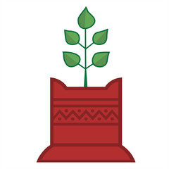 Illustration of Tulsi plant in decorated foundation